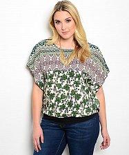 Buy PLUS SIZE 1XL 2XL Womens Top Green Paisley Print Scoop Neck Kimono Sleeves