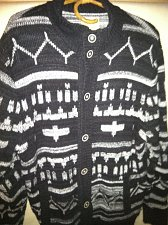 Buy Lucky Brand Mens XL Glacier Pass Jacquard Cardigan Wool Sweater