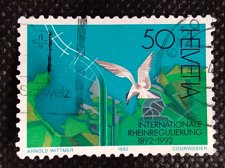 Buy Switzerland 1V USED STAMP Aerial view of the Rhine mouth into the Bodensee