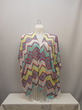 Buy Womens Swimsuit Cover Up SIZE XL Wrap OP Sheer Zigzag Kimono Sleeves Fringed