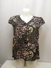 Buy Women Sheer Top PLUS SIZE 3X Black Floral Tied V-Neck Cap Sleeves ROOMMATES