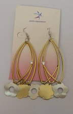 Buy Women Fashion Drop Dangle Earrings Triple Loop Flowers Rhinestones Gold Tones