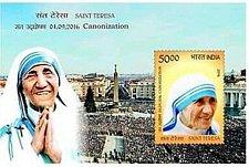 Buy India mnh Souvenir sheet of m Mother Saint TERESA VETICAN Canonization