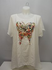 Buy Women Tunic Top SIZE 3XL White Sequin Butterfly Scoop Neck Kimono Sleeves
