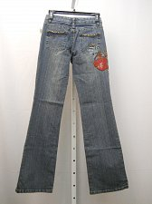 Buy Women Jeans Size 3/4 Milano Moda Stonewashed Embellished Boot Cut Legs 26X32