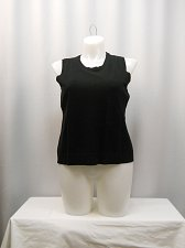 Buy Women Knit Top CHARTER CLUB PLUS SIZE 1X Solid Black Sleeveless Scoop Neck