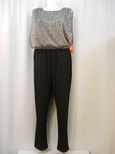 Buy PLUS SIZE 20W Jumpsuit ENFOCUS Black Silver Boat Neck Sleeveless Straight Leg