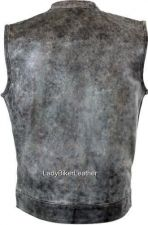Buy Mens SNAP/ZIP Distressed GRAY Leather CONCEALED CARRY Motorcycle CLUB Vest SOA