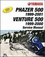 Buy 1999-2001 Yamaha Phazer PZ500C Venture VT500XLC Snowmobile Service Manual CD 500