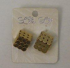 Buy Women Fashion Stud Earrings Gold Tones 3D Rubiks Cube LIN LI Push Back