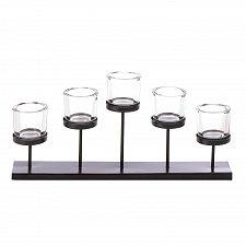 Buy *17428U - Black 5 Pedestal Glass Votive Cup Candle Holder Centerpiece