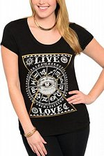 Buy SIZE 1X Womens Knit Top LIBIAN Black Graphic Front LIVE LOVE Ruched Short Sleeve