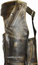 Buy MENS Ladies Biker DISTRESSED BROWN Premium Leather MOTORCYCLE CHAPS Over Pants