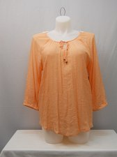 Buy Women Peasant Top Size 2XL Solid Peach Crochet Lace Back Trim 3/4 Raglan Sleeve