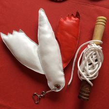 Buy Falconry Leather Red and White Bird Lure including creance and Line