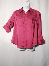 Buy PLUS SIZE 14W Button Top CHARTER CLUB Shocking Pink Long Sleeves Collar Neck