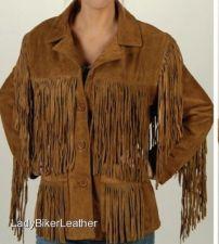 Buy Ladies BOHO Hippie Biker BROWN Soft PREMIUM Suede Leather FRINGE Western Jacket