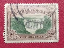 Buy Southern Rhodesia, Definitive stamps,Victoria Falls, 2d green brown used S.G.29
