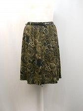 Buy Women A-Line Skirt Size L Grace Elements Paisley Elastic Waist Knee Length Belt