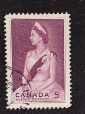 Buy Canada Used stamp 1959 1v #386 - Queen Elizabeth II (1959) 5¢