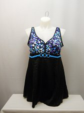 Buy SIZE 22 Women 1PC Empire Swimdress SWIM365 Black Multi Dots V-Neck Adjustable St