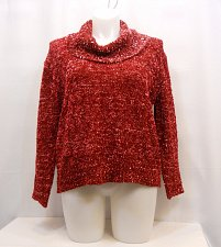 Buy Womens Sweater Cowl Neck Size XL Solid Red Long Sleeves