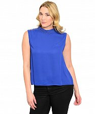 Buy Women Turtle Neck Top SIZE 1XL2XL 3XL Solid Blue Studded Sleeveless