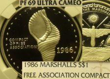 Buy Marshall Islands 1986 Free Association Compact $1~NGC Proof-69 UC~Highest~10k mt