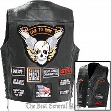 Buy Mens Black Leather Concealed Carry Biker Vest with 16 Patches and Laced Sides