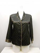 Buy SIZE M Women Sleep Shirt MORGAN TAYLOR Button Front Black Polka Dot Long Sleeves