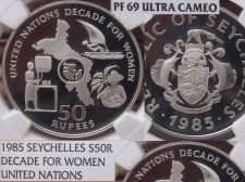 Buy Seychelles 1985 50 Rupees~NGC PR-69 UC~U.N. Decade For Women~Rare 500 Minted~F/S
