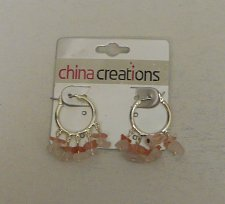 Buy Women Fashion Hoop Earrings Silver Tones Pink Beads CHINA CREATIONS Leverback