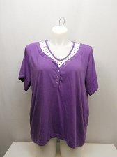 Buy PLUS SIZE 2X Women Knit Top AMERICAN SWEETHEART Purple Polka Dots Short Sleeves