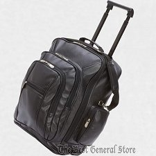 "Buy Black Faux Leather 19"" Trolley Backpack Push Button Release Telescopic Handle"