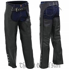 Buy Black Solid Genuine Leather Motorcycle Riding Chaps with Full Lining Adjustable