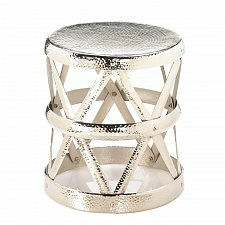 Buy *17570U - Hammered Aluminum Drum Decorative Foot Stool Accent Table