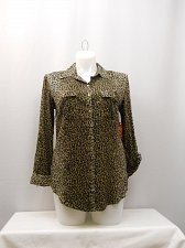Buy Womens Pocket Button SHIRT Size L FADED GLORY Animal Print Collar Long Sleeves