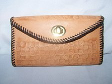 Buy Womens Leather Wallet~Hand Tooled~Checkbook Style with Coin Section