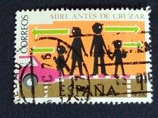 Buy SPAIN 1 Used Stamp Mi: 2205 1976 Road Safety: Look before crossing