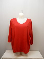 Buy PLUS SIZE 2X Women Sleep Shirt NAUTICA Solid Red V-Neck ¾ Sleeves Pullover
