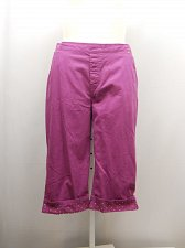 Buy SIZE 18P Women Capris AMERICAN SWEETHEART Solid Violet Studded Cuffs Elastic Wai