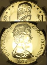 Buy Cook Islands 1978-FM Dollar NGC MS-67~Extremely Rare 767 Minted~Tangaroa~Fr/Shi