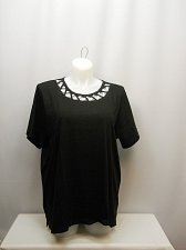 Buy Women Knit Top PLUS SIZE 3X Solid Black Short Sleeves Lattice Detail Scoop Neck
