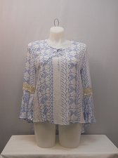 Buy Womens Hi Lo Top SIZE XL COMO VINTAGE Geometric Crocheted Lace Trim Bell Sleeves