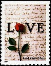 Buy 2001 34c Rose & Love Letter, SA Scott 3496 Mint F/VF NH