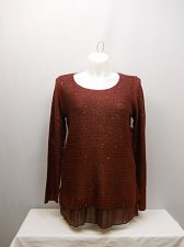 Buy SIZE XL Womens Twofer Sweater FADED GLORY Solid Bordeaux Sequins Long Sleeves