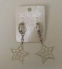 Buy Women Drop Dangle Fashion Earrings Stars Rhinestones Silver Tones LIN LI