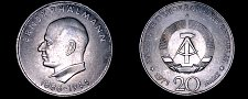 Buy 1971-A German Democratic Republic 20 Mark Coin- East Germany- Ernst Thalmann
