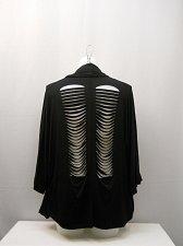 Buy Womens Wrap Cardigan Size L Democracy Black Distressed Back Dolman Sleeves