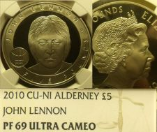 Buy Alderney 2010 5 Lire NGC Proof 69 Ultra Cameo~John Lennon~Rare~Free Shipping